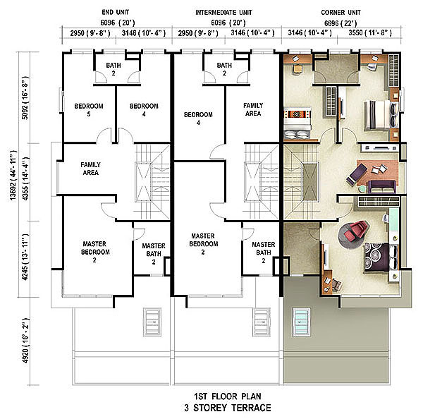 Floor Plan 3 Storey Terrace Casuarina First Floor Penang