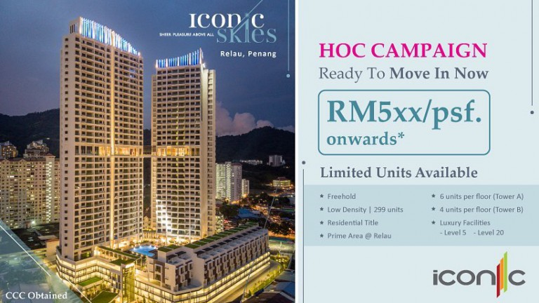 Owning a unit of Iconic Skies @ Relau from RM5xx/psf onwards. Project details
