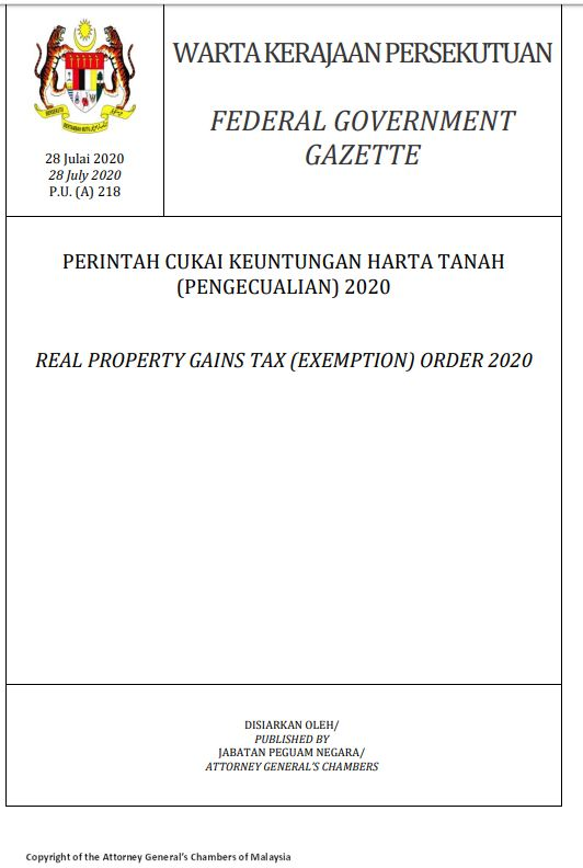 real-property-gains-tax-exemption-order-2020-1